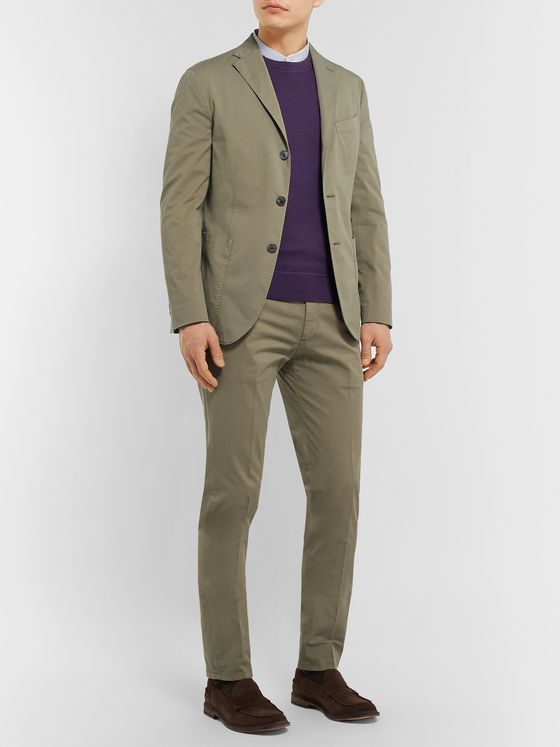 Boglioli Blue K-Jacket Slim-Fit Unstructured Linen Suit Jacket
