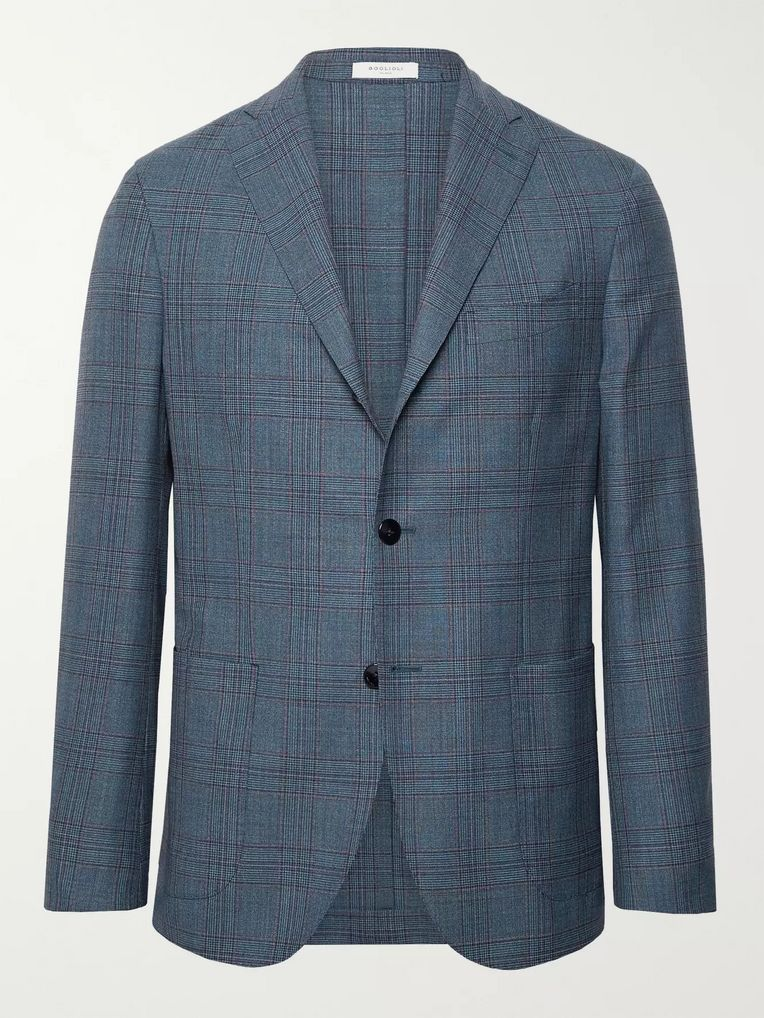 Boglioli Blue K-Jacket Slim-Fit Unstructured Prince of Wales Checked Wool Blazer
