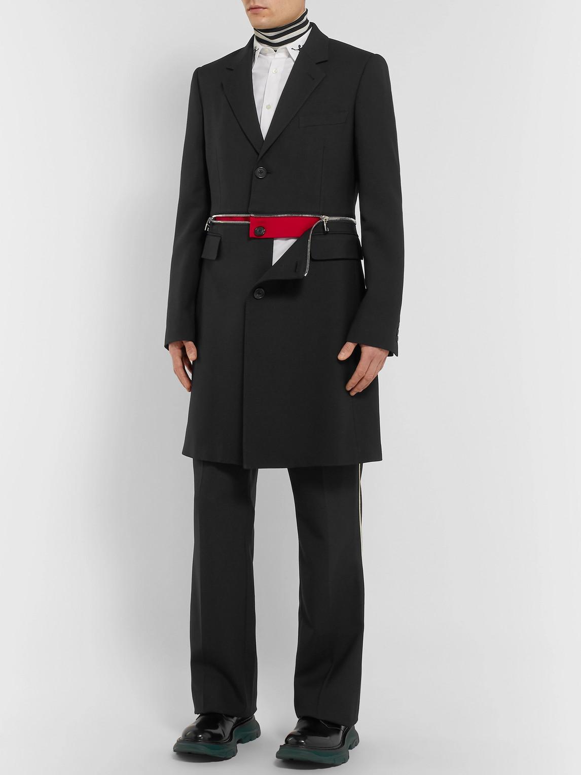 Alexander Mcqueen Coats SLIM-FIT ZIP-TRIMMED WOOL-BLEND COAT