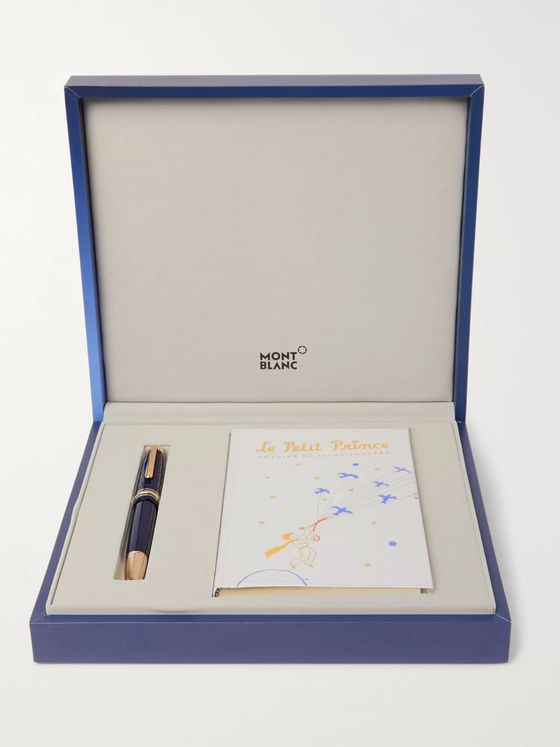 Montblanc Meisterstück Le Petit Prince Engraved Gold-Tone and Resin Fountain Pen and Book Set