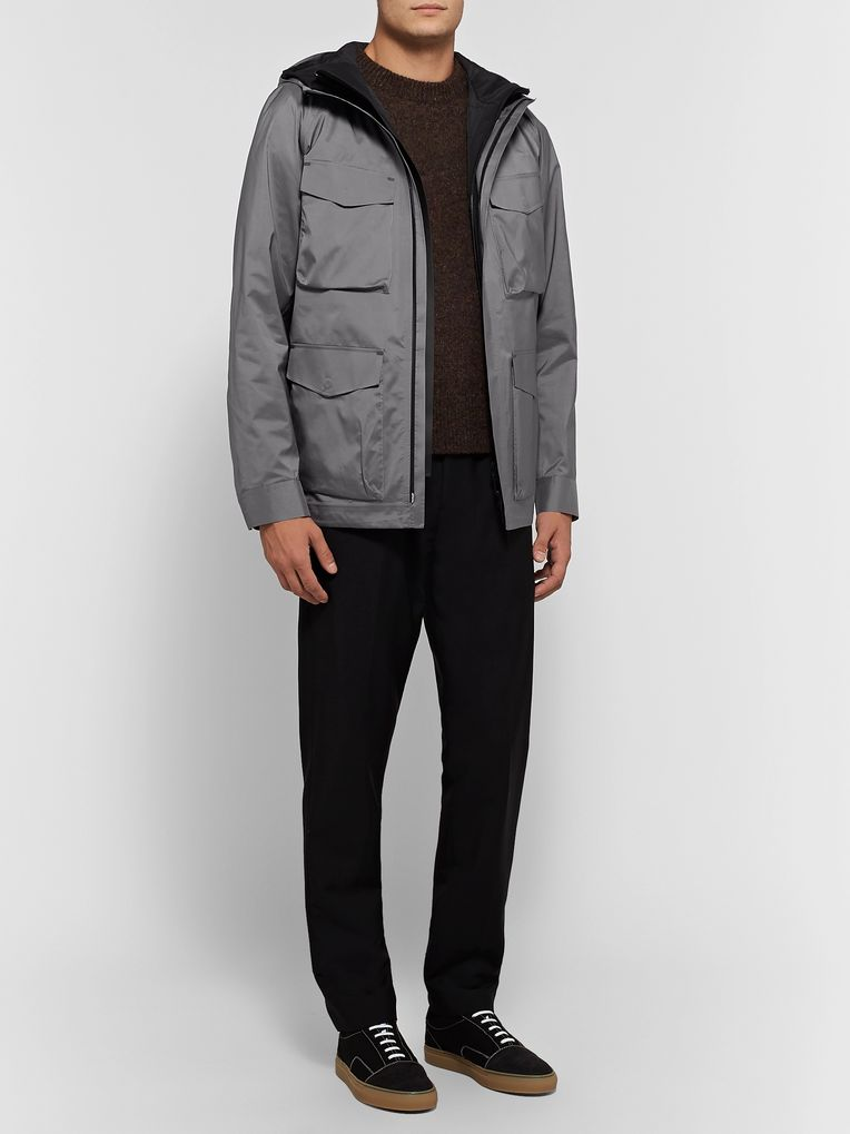 Theory Checked Shell Hooded Jacket with Detachable Gilet