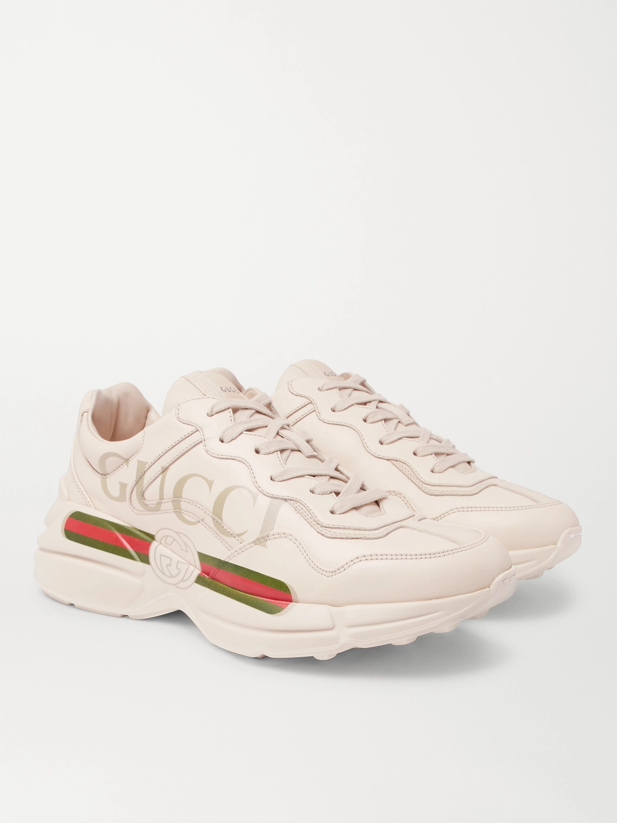 92ce44836 Off-white Rhyton Logo-Print Leather Sneakers   Gucci   MR PORTER