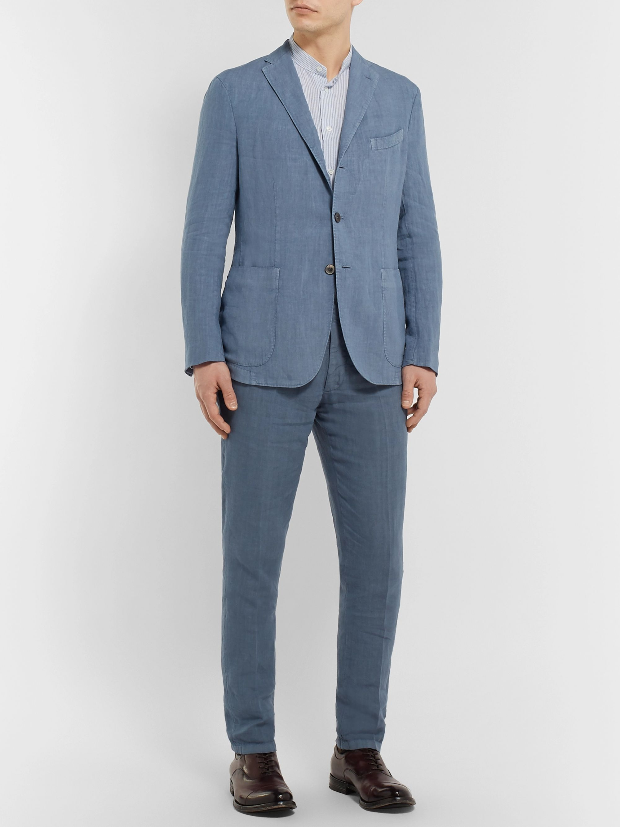 Boglioli Olive K-Jacket Unstructured Linen Suit Jacket