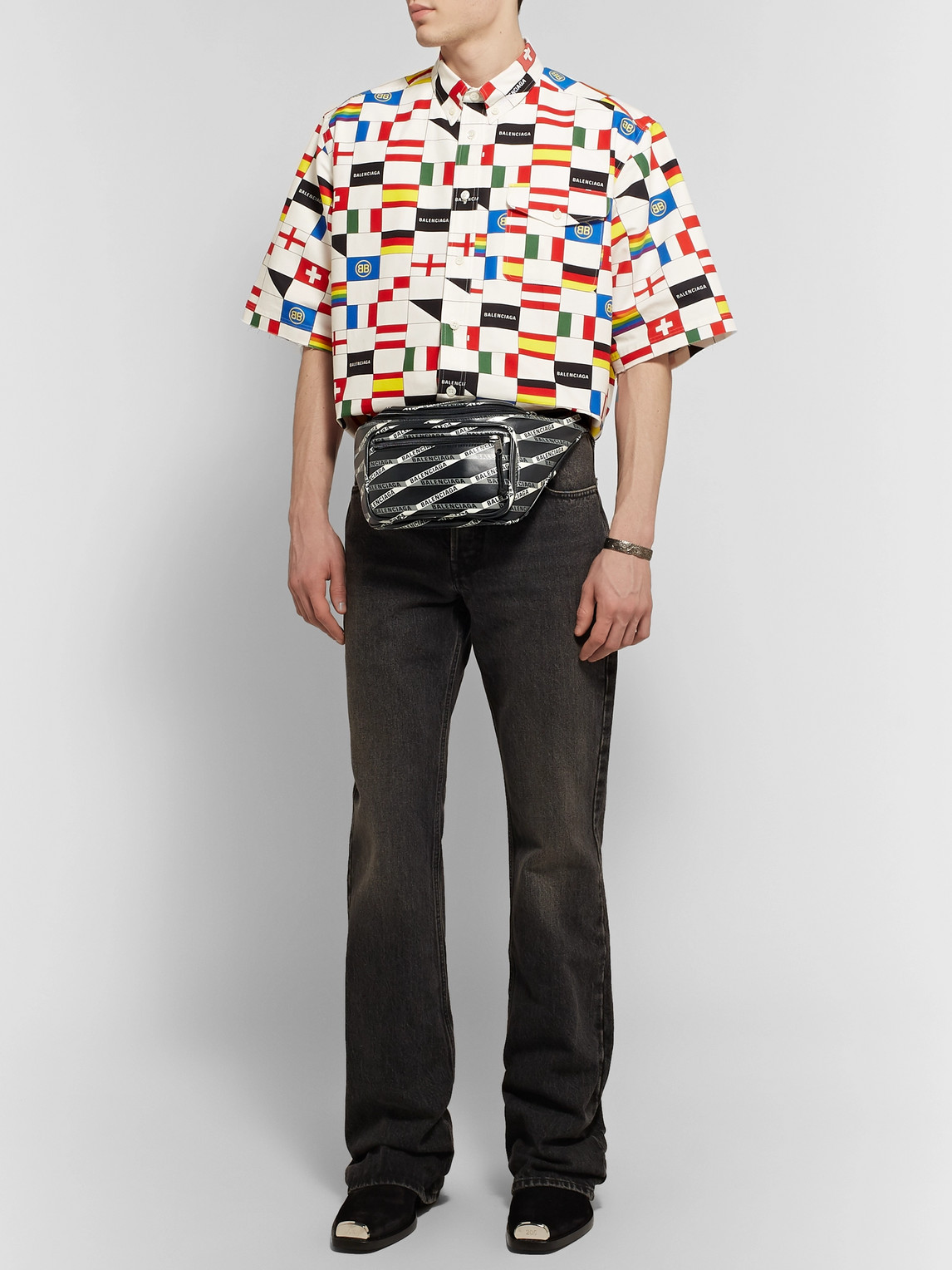 Balenciaga Belt EXPLORER LOGO-PRINT LEATHER BELT BAG