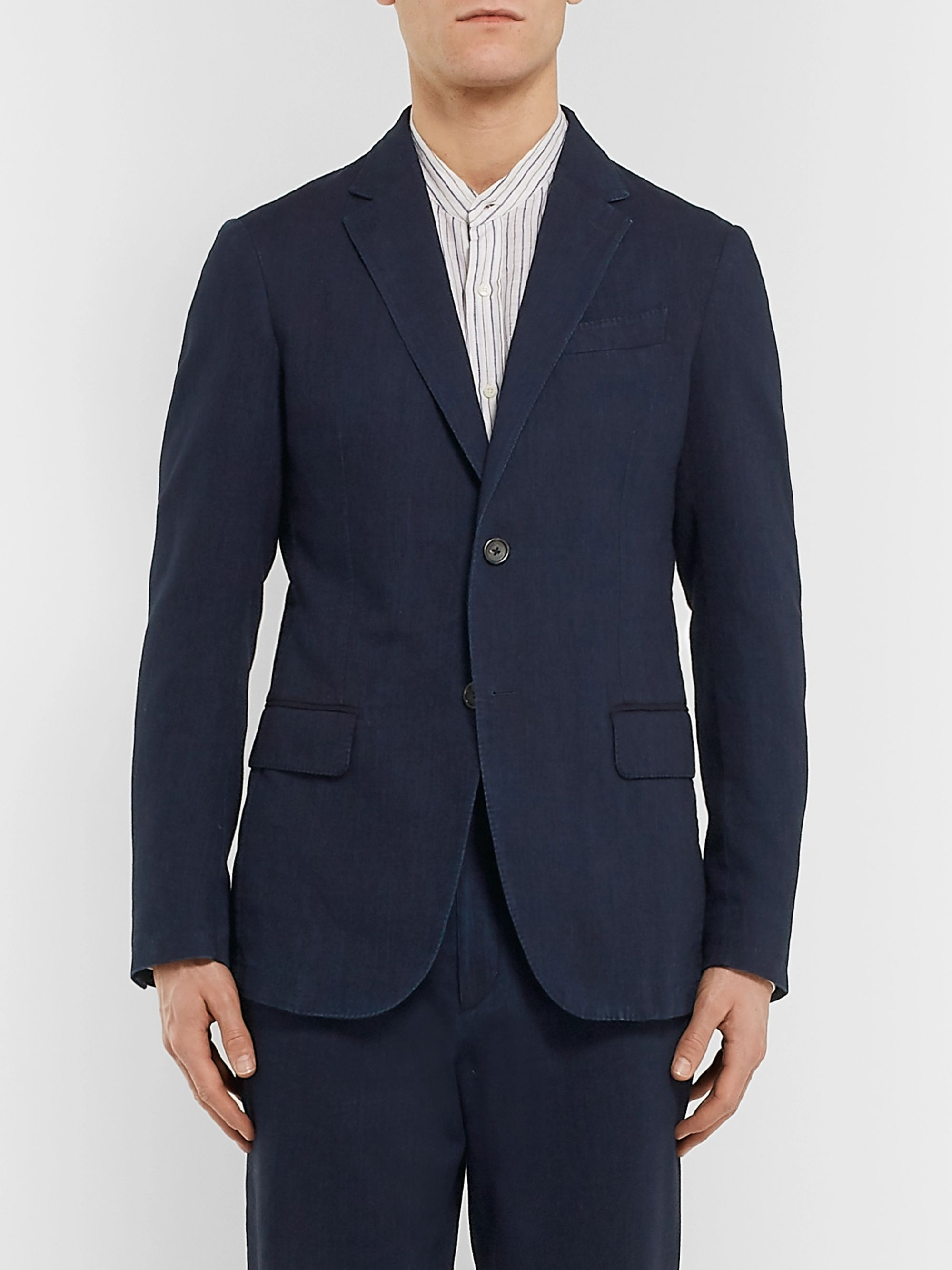 Ermenegildo Zegna Indigo Slim-Fit Unstructured Garment-Dyed Cotton Suit Jacket