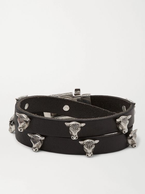 Gucci Leather and Silver-Tone Wrap Bracelet