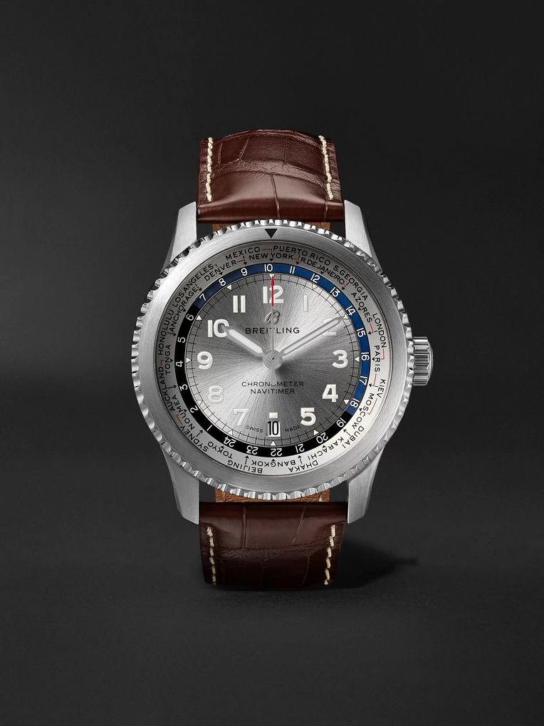 Breitling Navitimer 8 B35 Automatic Unitime Chronometer 43mm Stainless Steel and Alligator Watch