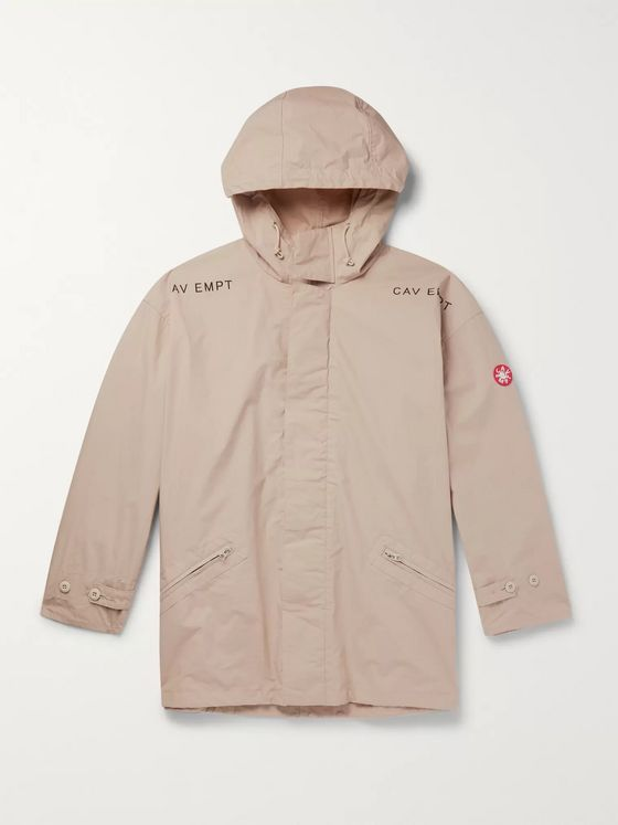 Cav Empt Oversized Logo-Appliquéd Printed Cotton Hooded Parka