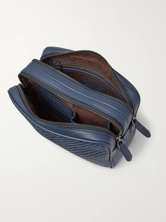 Ermenegildo Zegna Pelle Tessuta Leather Wash Bag