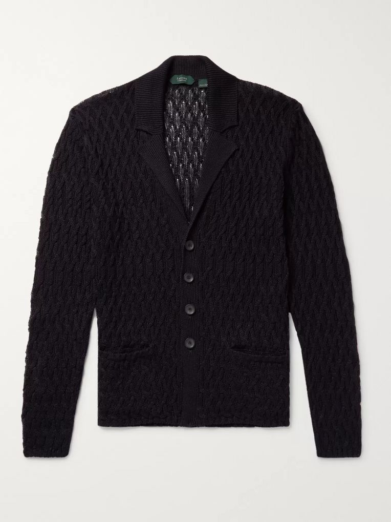 Incotex Cable-Knit Linen and Cotton-Blend Cardigan