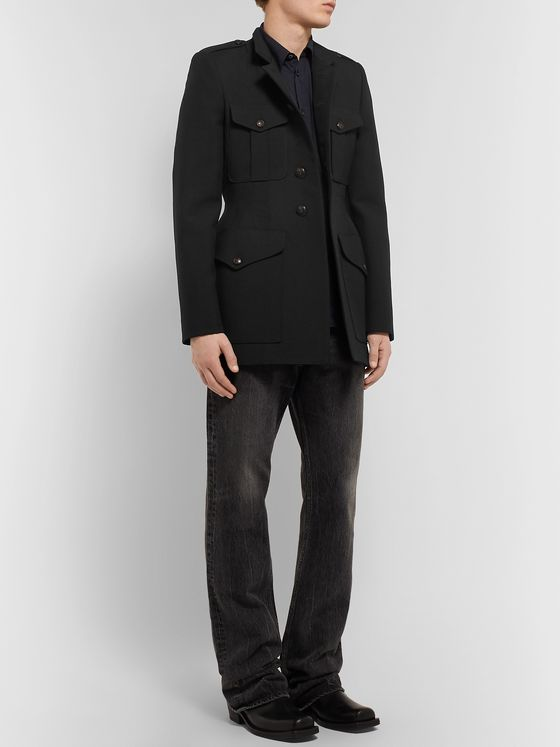 Balenciaga Slim-Fit Virgin Wool-Twill Coat