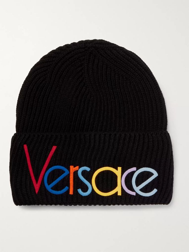 Versace Logo-Embroidered Ribbed Wool Beanie