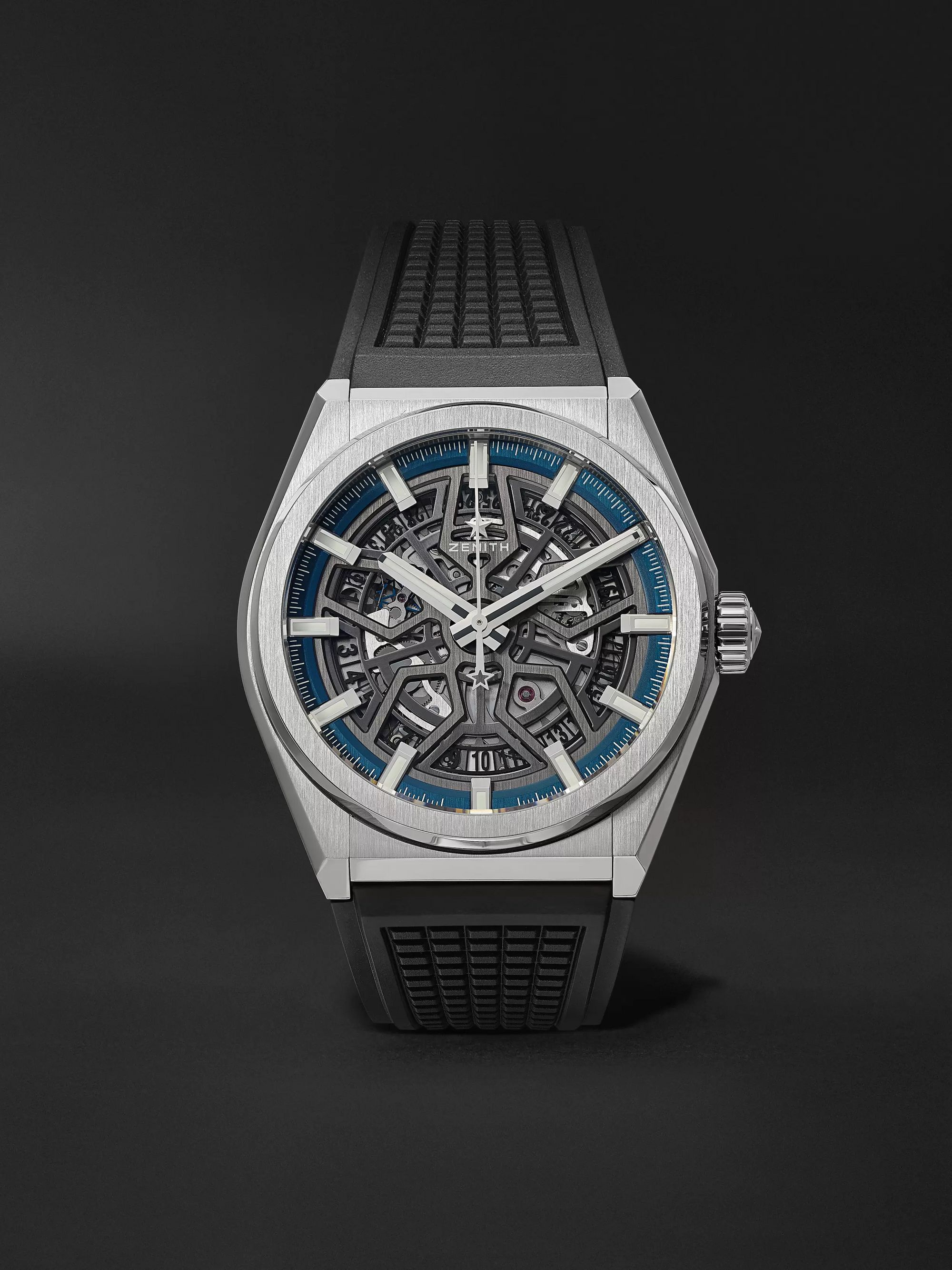 Defy Classic Automatic Skeleton 41mm Brushed Titanium And Rubber Watch, Ref. No. 95.9000.670/78.R782 by Zenith