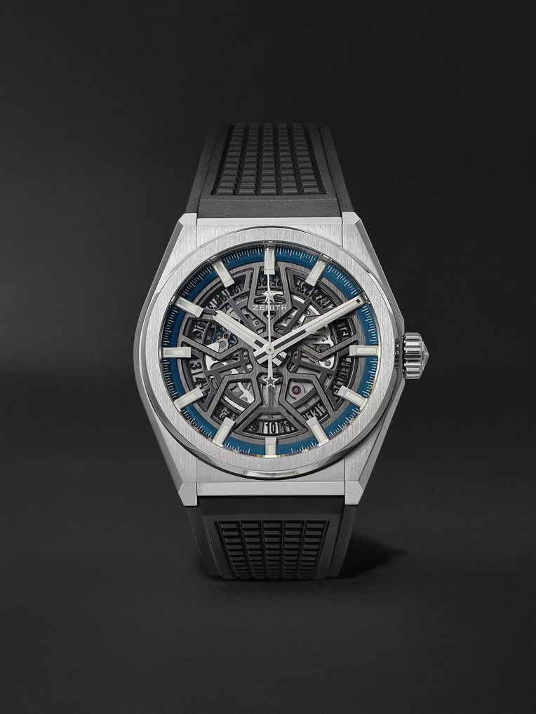 Zenith Defy Classic Automatic Skeleton 41mm Brushed-Titanium and Rubber Watch, Ref. No. 95.9000.670/78.R782