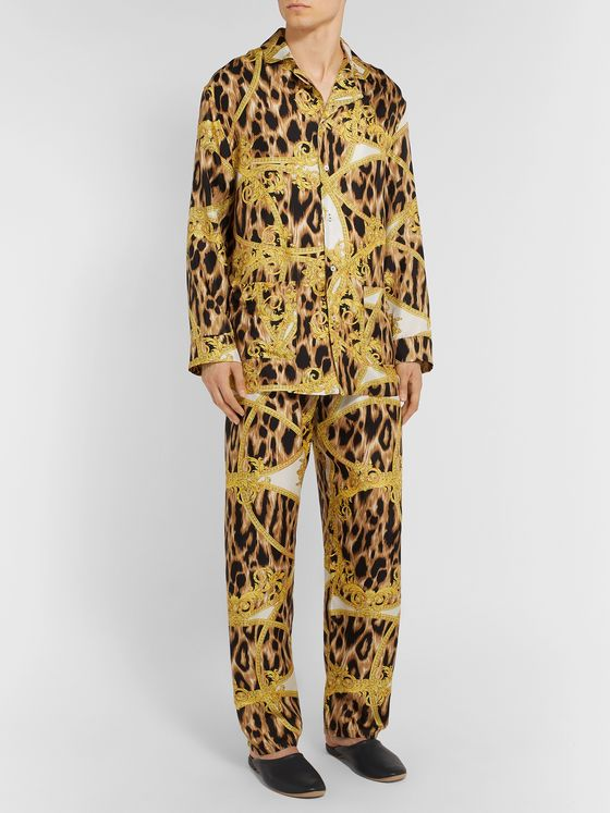 Versace Camp-Collar Printed Silk Pyjama Shirt