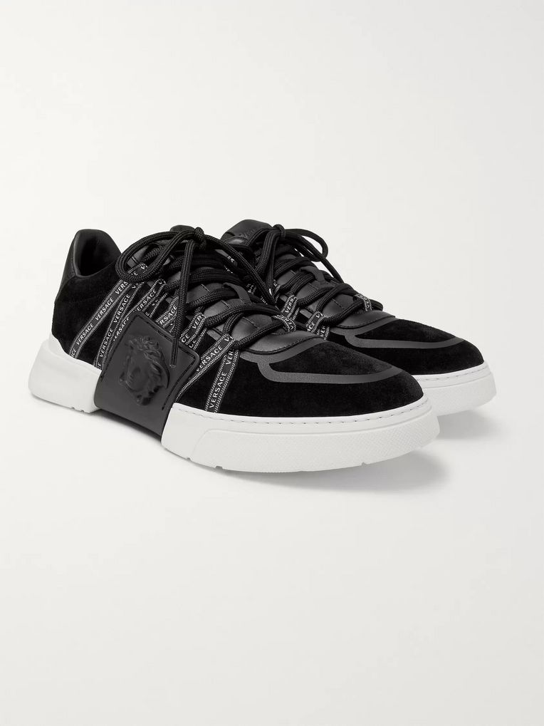 Versace Cerus Neoprene and Leather-Trimmed Suede Sneakers