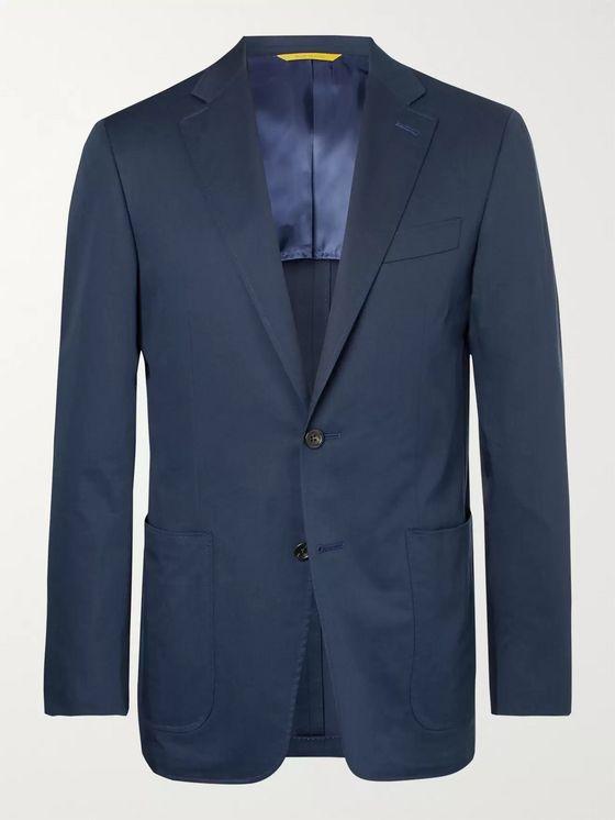 Canali Stone Stretch-Cotton Suit Jacket