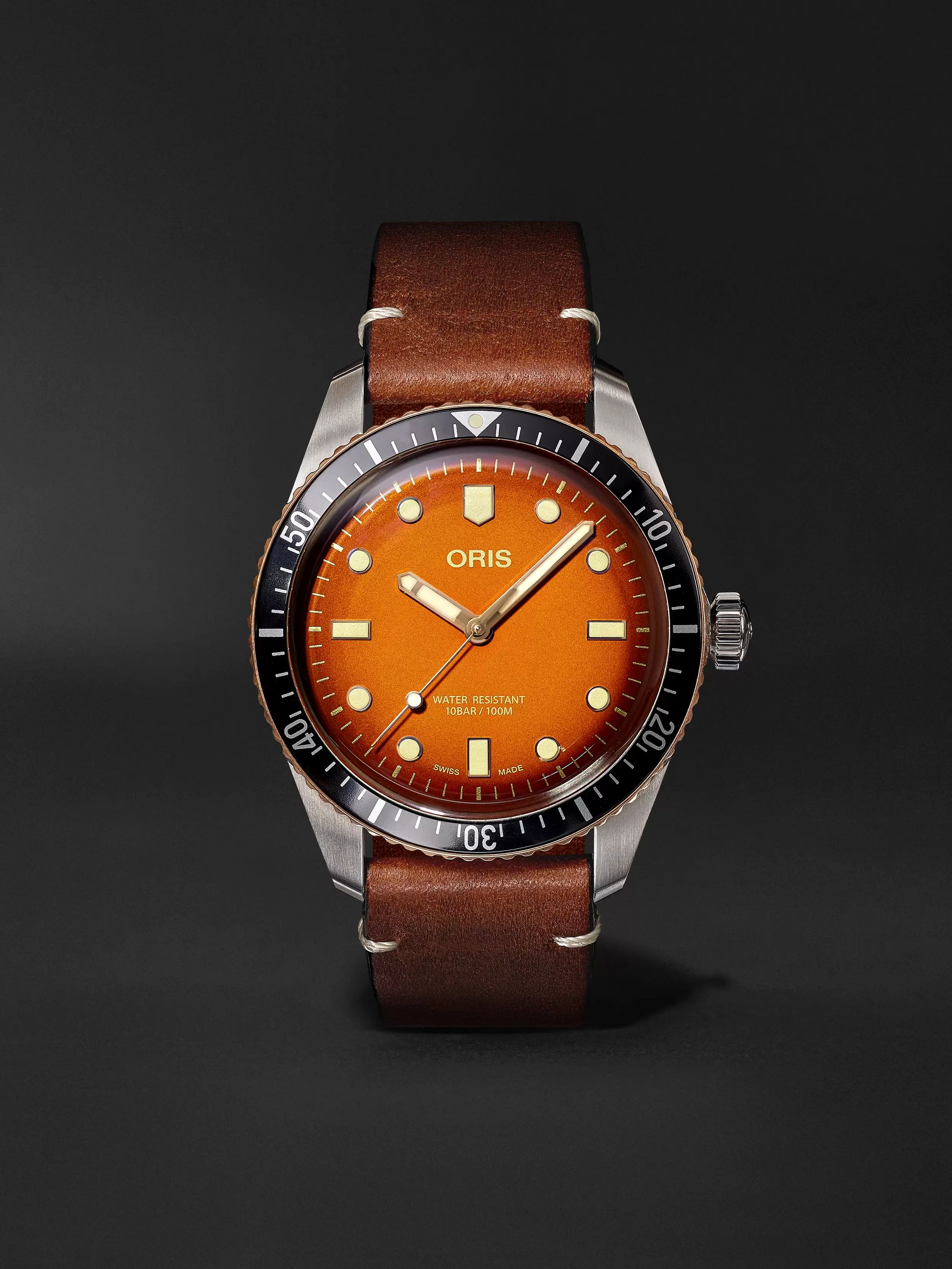 Oris + Revolution Divers Sixty-Five Honey Automatic 40mm Stainless Steel and Leather Watch