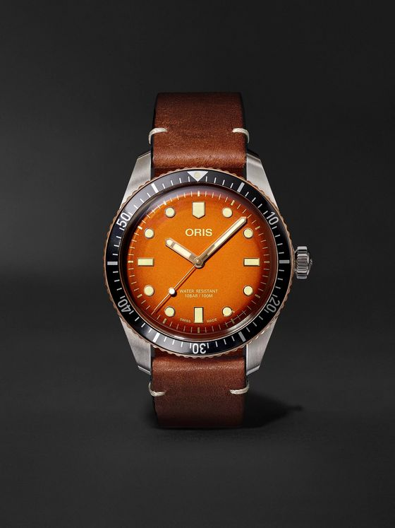Oris + Revolution Divers Sixty-Five Honey Automatic 40mm Stainless Steel and Leather Watch, Ref. No. 01 732 7707 43XX-Set