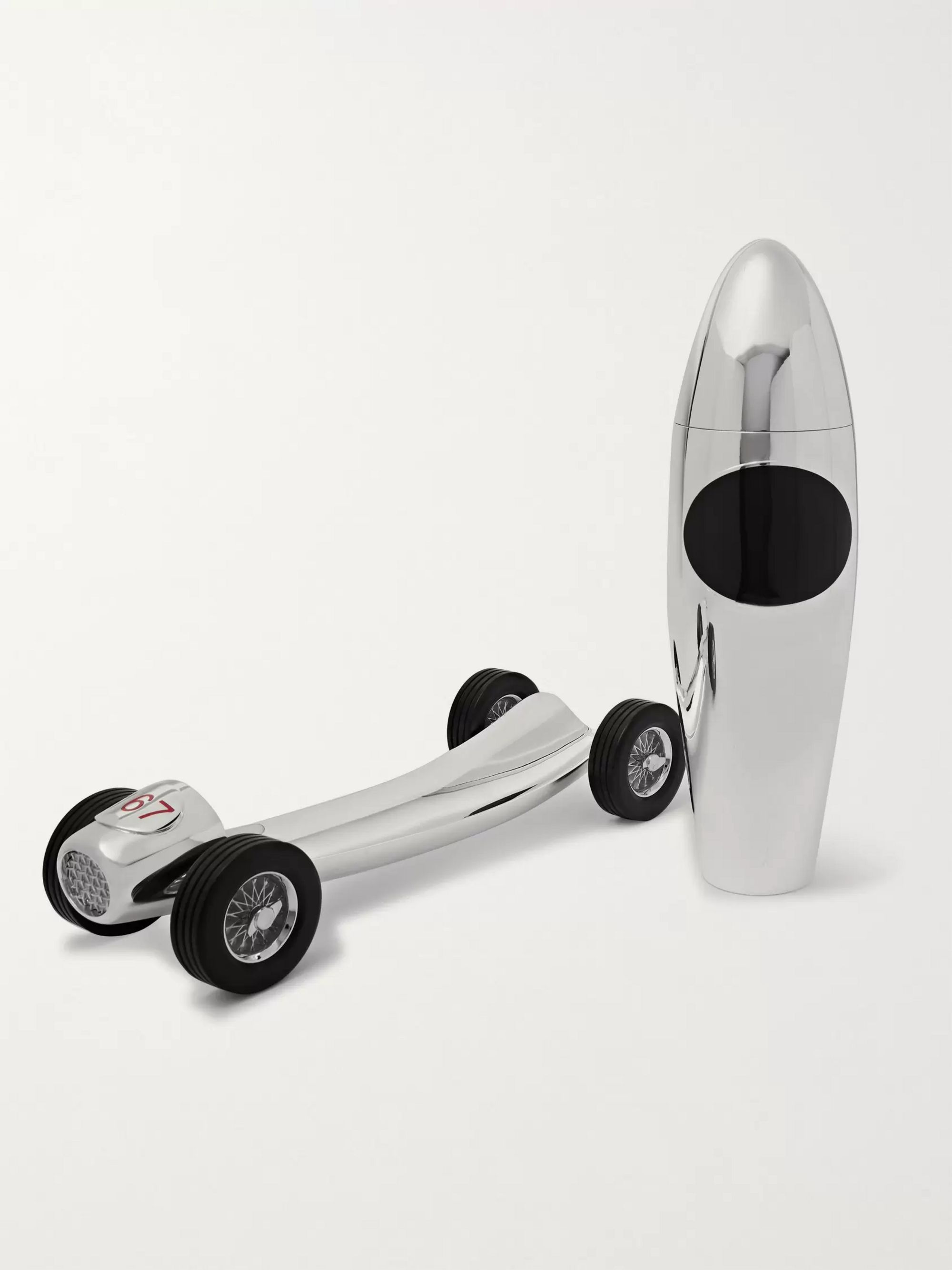 Asprey Racing Car Sterling Silver and Enamel Cocktail Shaker