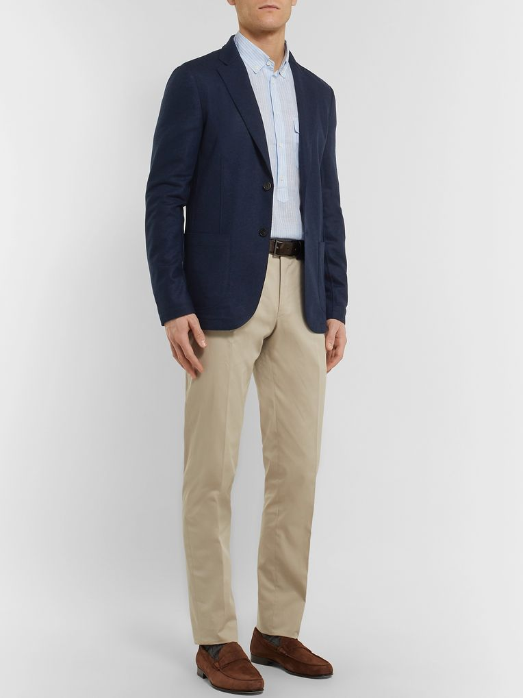 Loro Piana Navy Slim-Fit Suede-Trimmed Panelled Cashmere and Wool Blazer