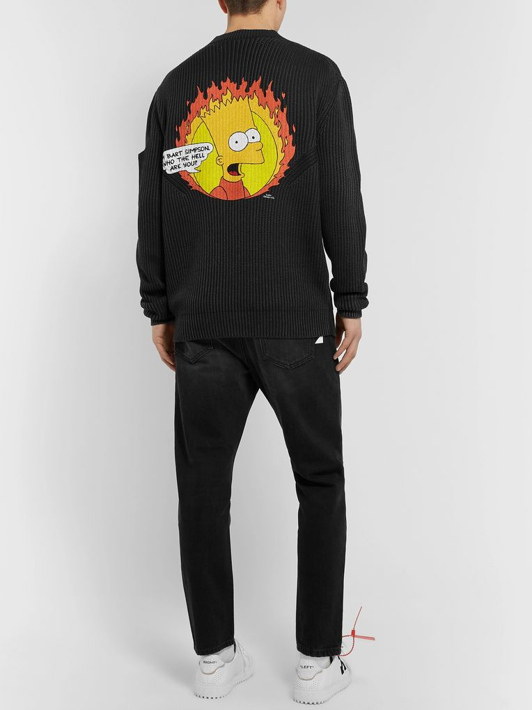 Off-White Bart Simpson Printed Ribbed Cotton and Cashmere-Blend Sweater