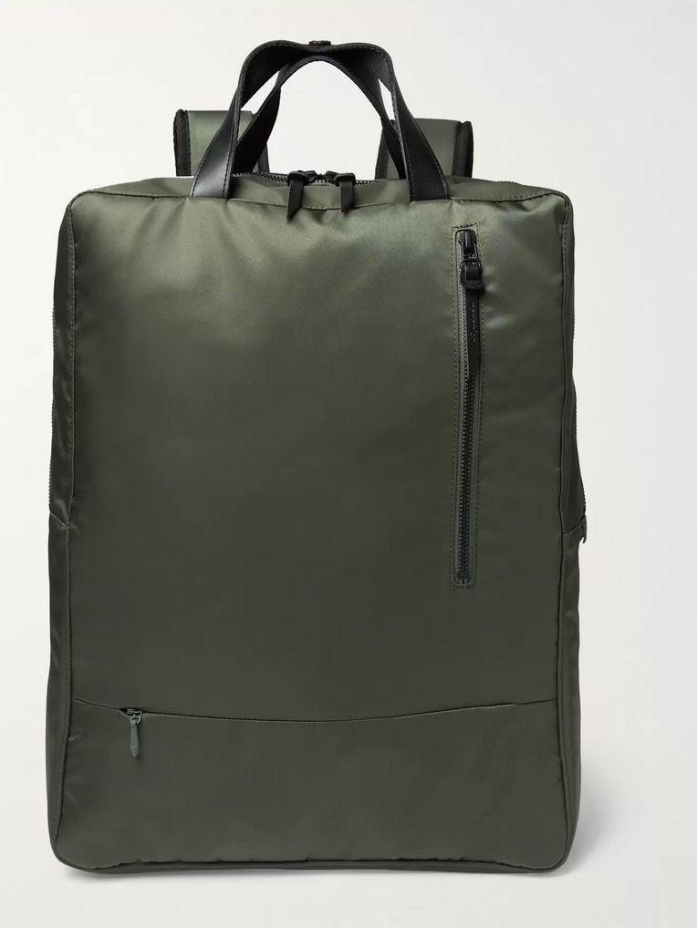 Incotex + nanamica City Leather-Trimmed Nylon Backpack