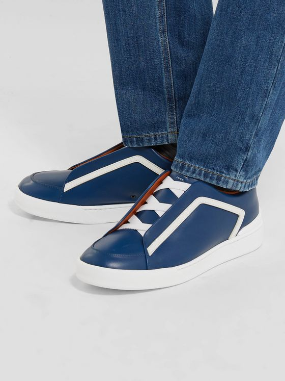 Ermenegildo Zegna Triple Stitch Leather Slip-On Sneakers