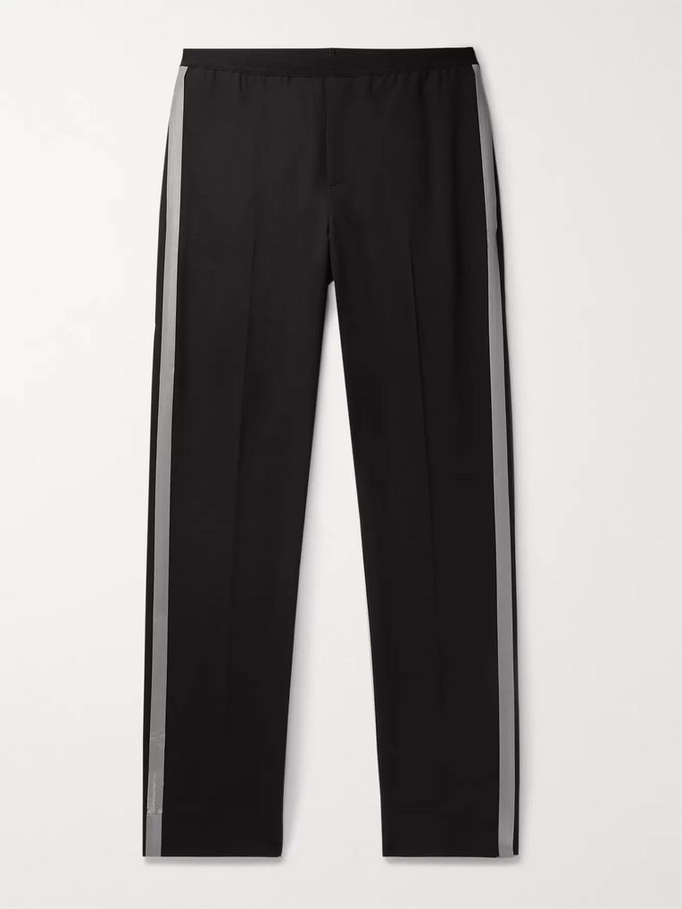 Helmut Lang Reflective-Trimmed Stretch-Wool Trousers