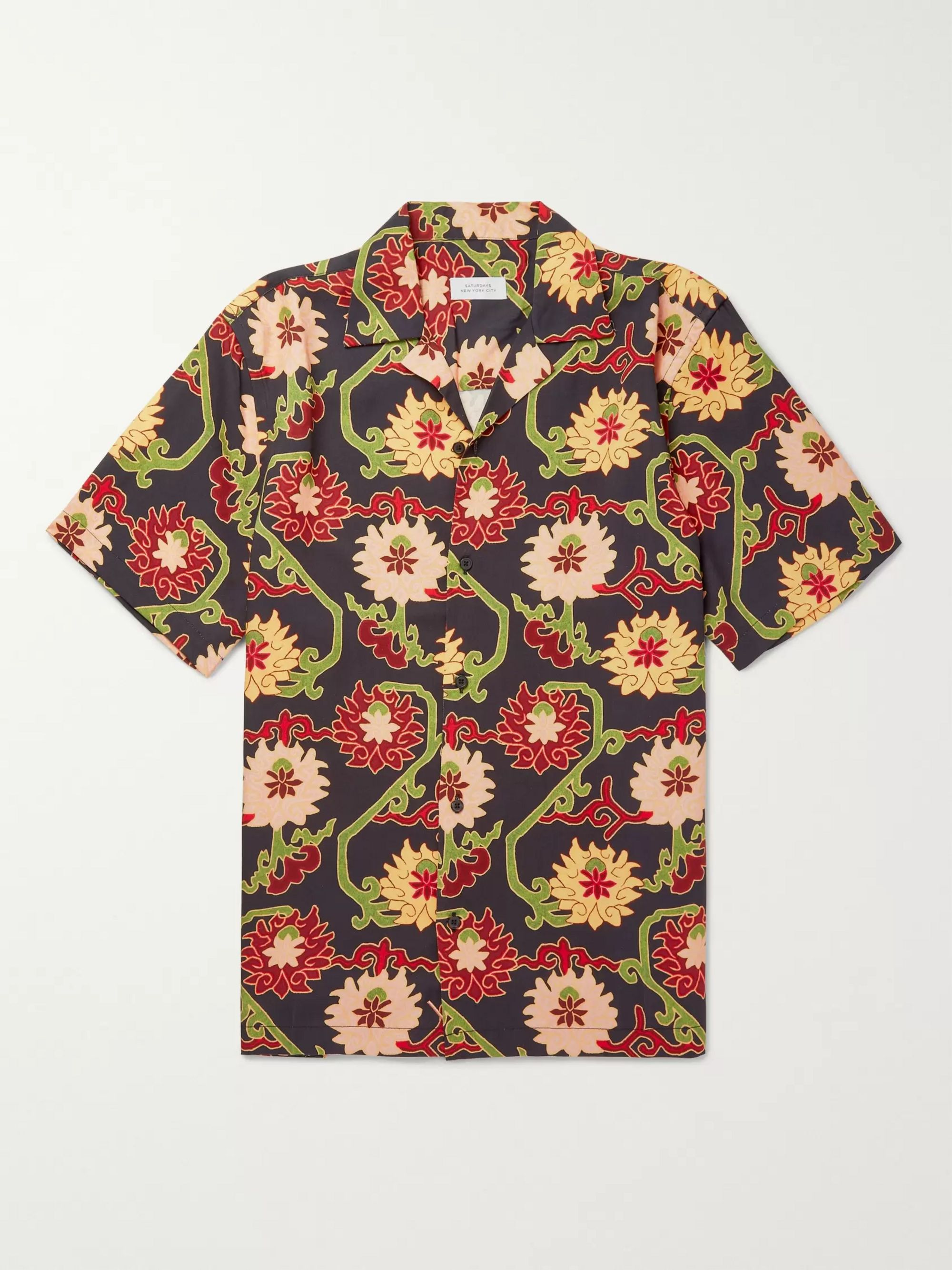 Saturdays NYC Camp-Collar Floral-Print Lyocell Shirt