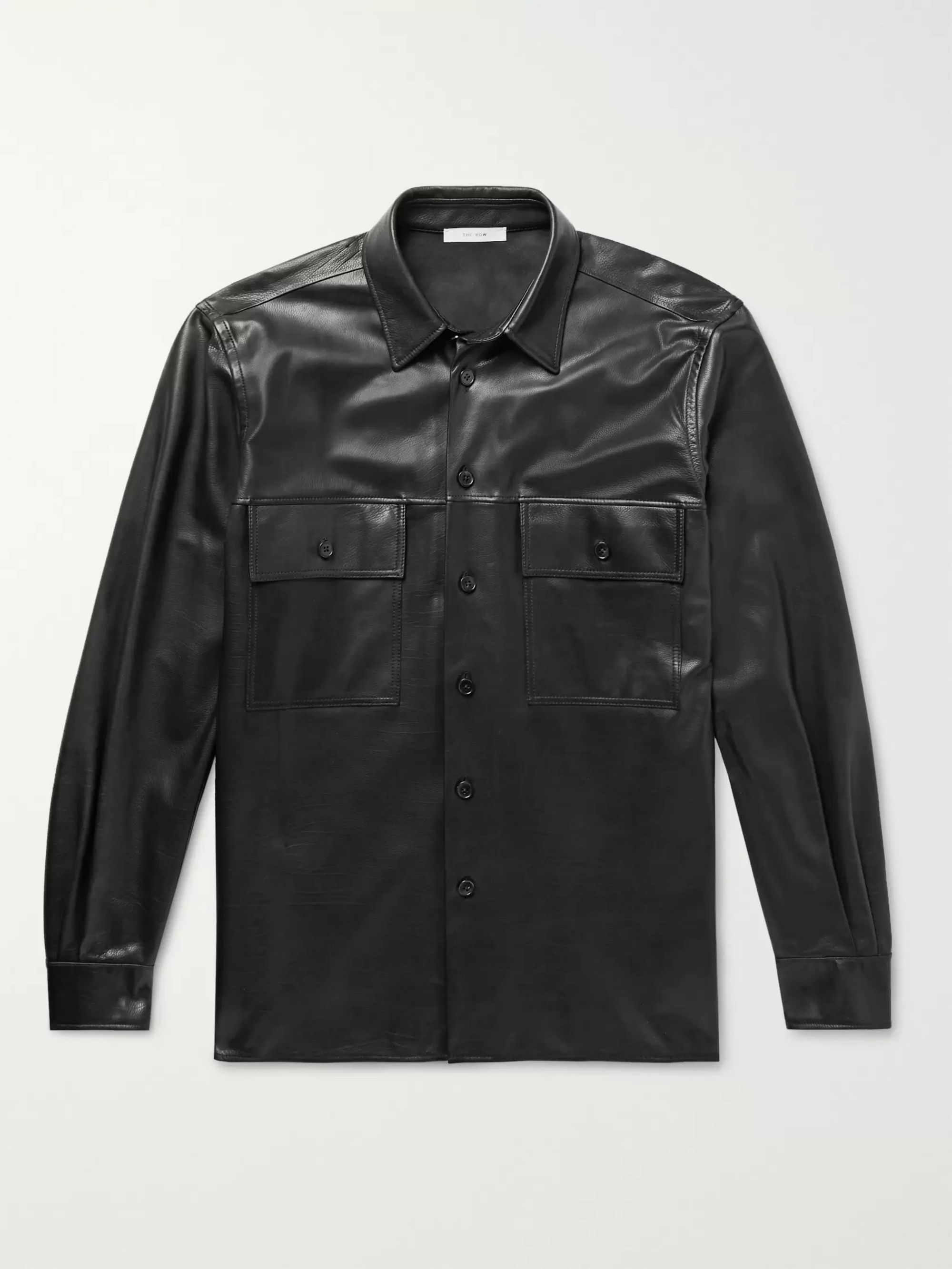Johnny Leather Shirt Jacket by The Row