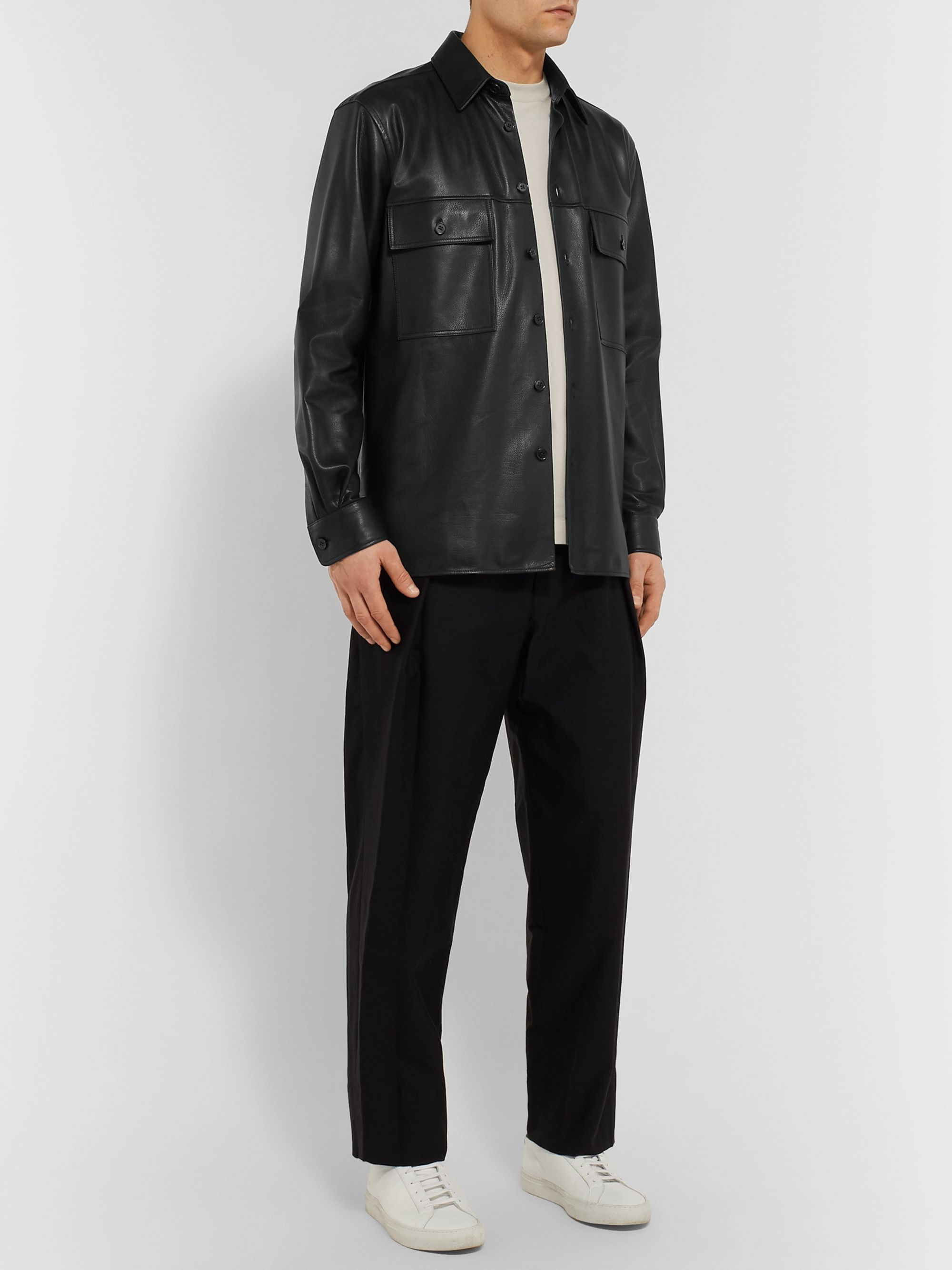 The Row Johnny Leather Shirt Jacket