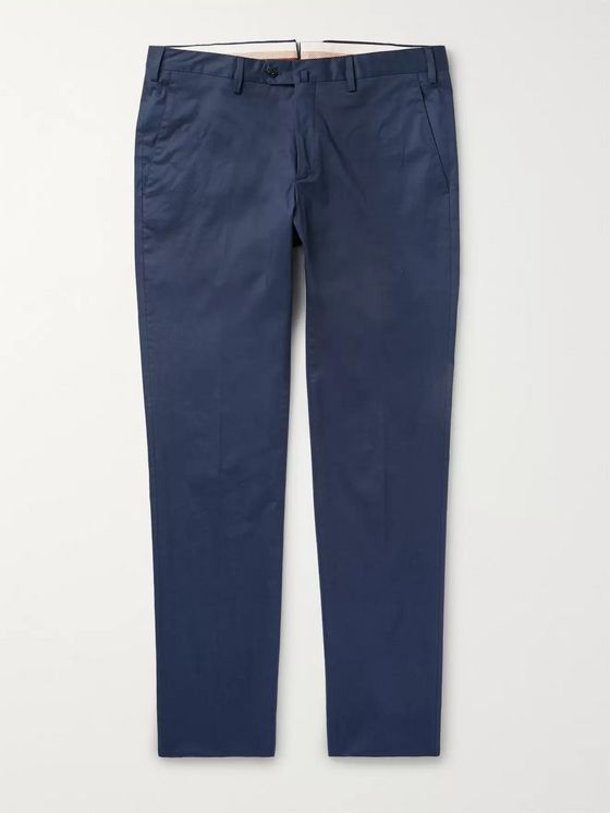 Loro Piana Navy Slim-Fit Stretch-Cotton Twill Trousers