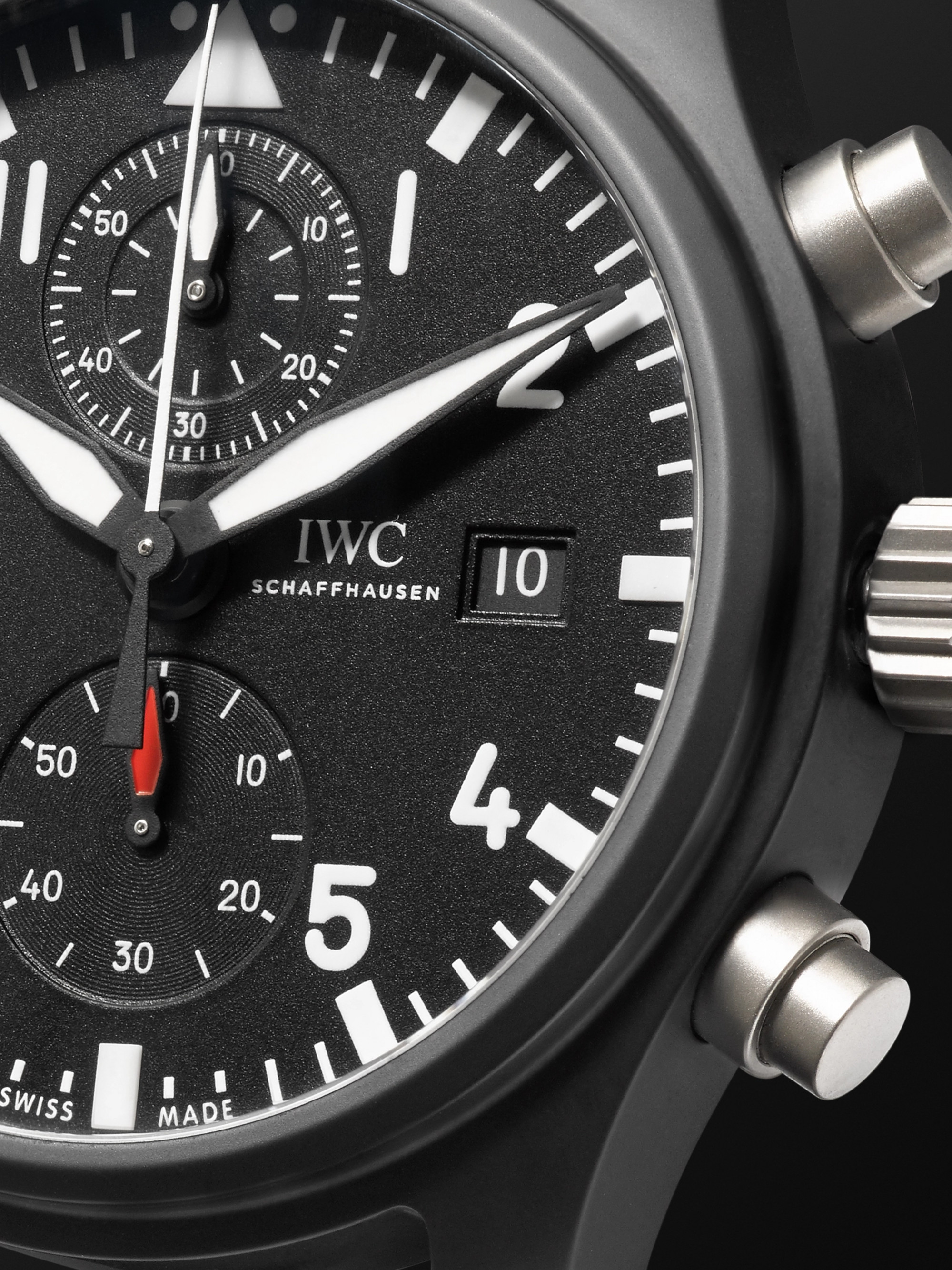 IWC SCHAFFHAUSEN Pilot's TOP GUN Chronograph 44mm Ceramic and Leather Watch