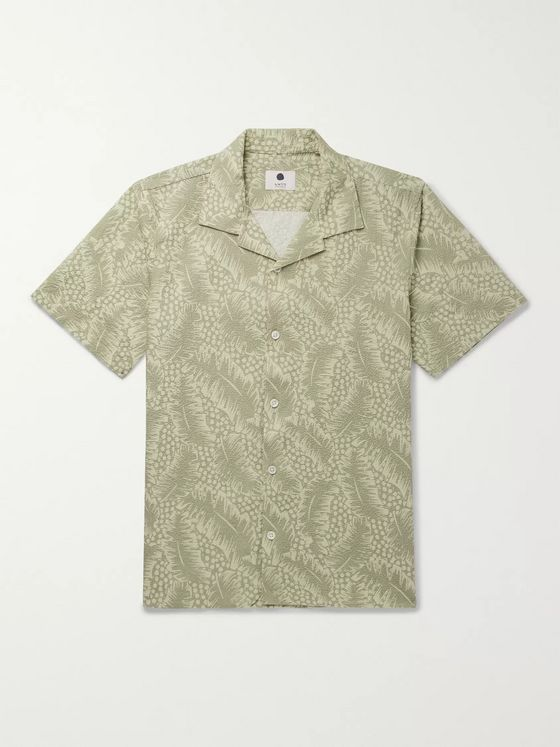 NN07 Camp-Collar Printed Stretch-Cotton Seersucker Shirt