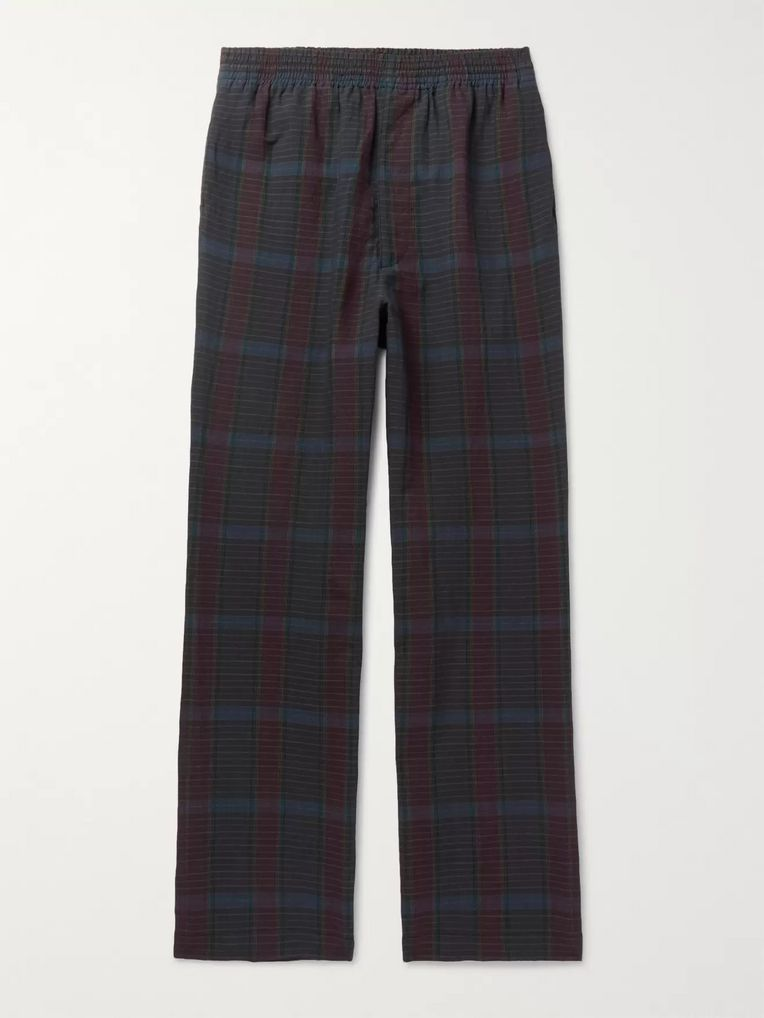 Camoshita Checked Wool and Linen-Blend Drawstring Trousers