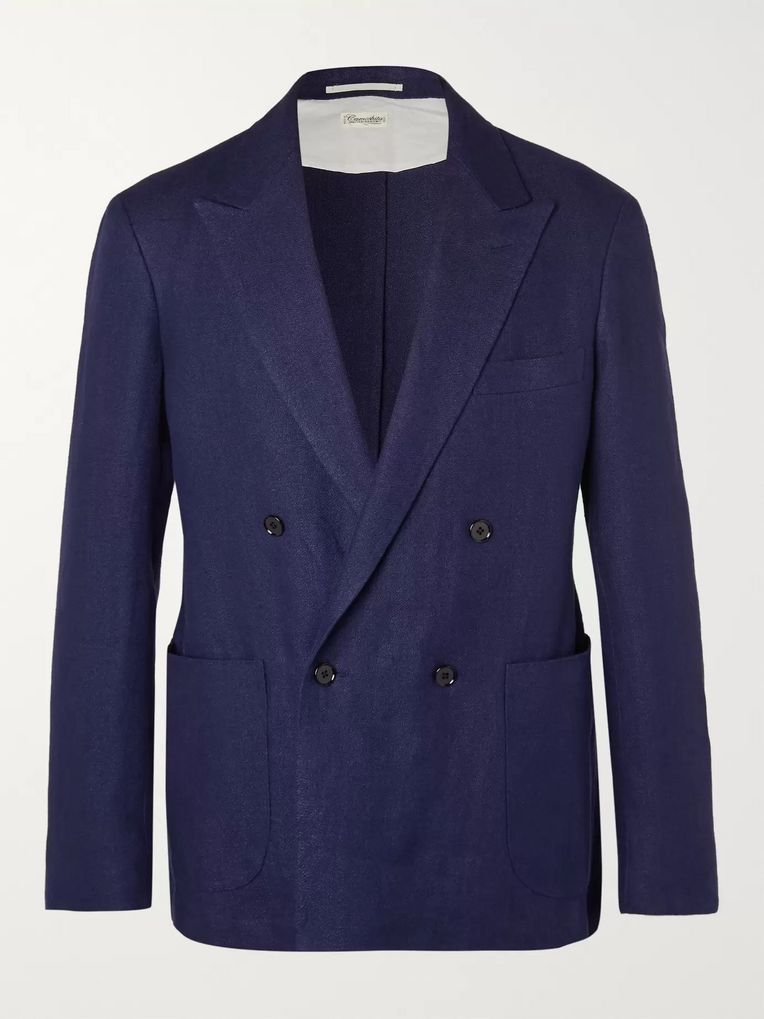 Camoshita Royal-Blue Unstructured Double-Breasted Linen Blazer