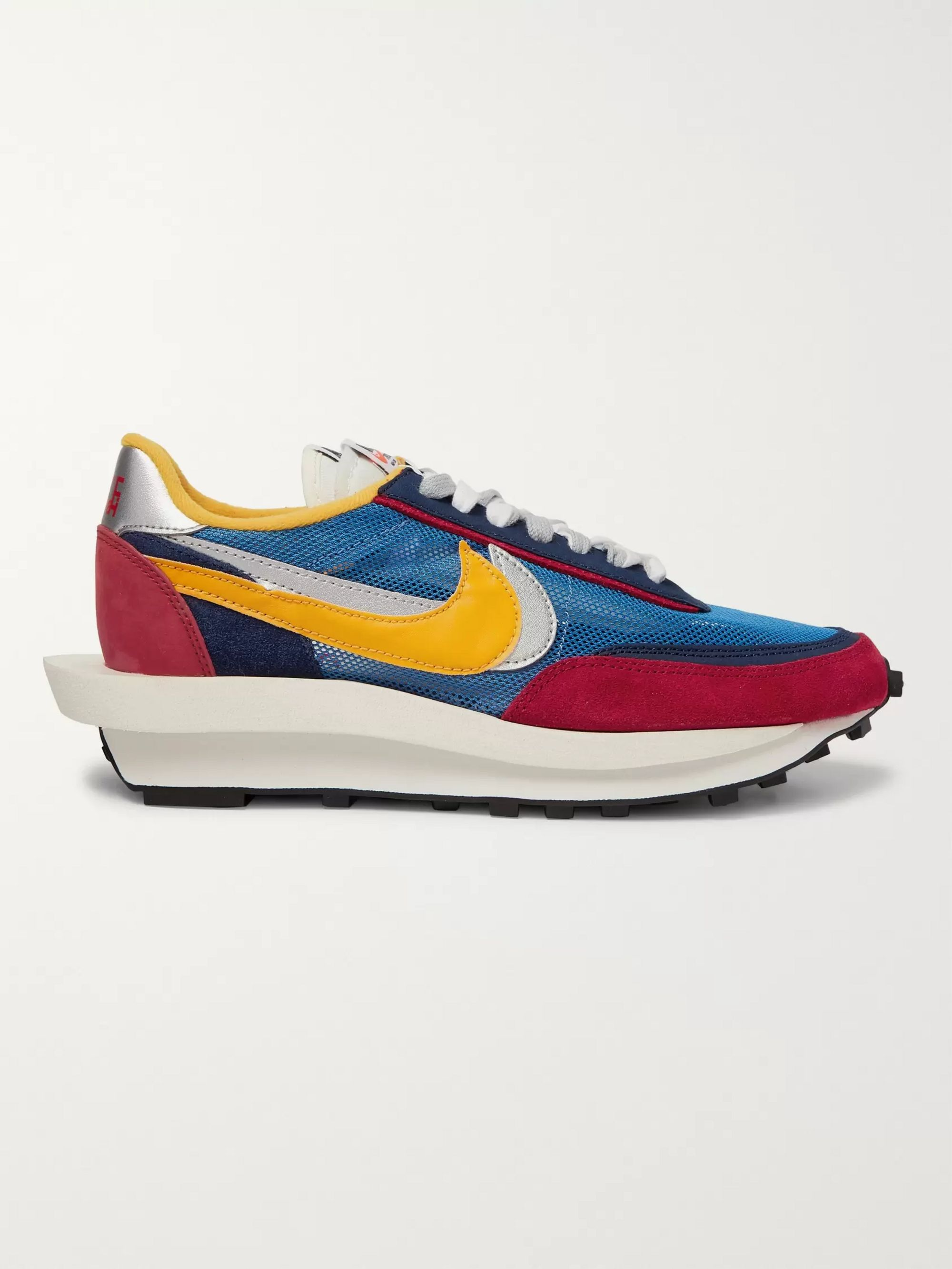 Nike + Sacai LDV Waffle Mesh, Suede and Leather Sneakers