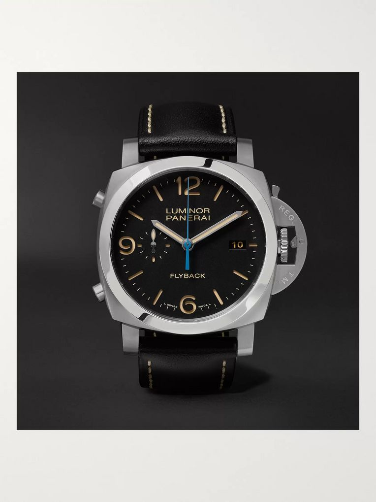 Panerai Luminor 1950 3 Days Chrono Flyback Automatic Acciaio 44mm Stainless Steel and Leather Watch, Ref. No. PAM00524