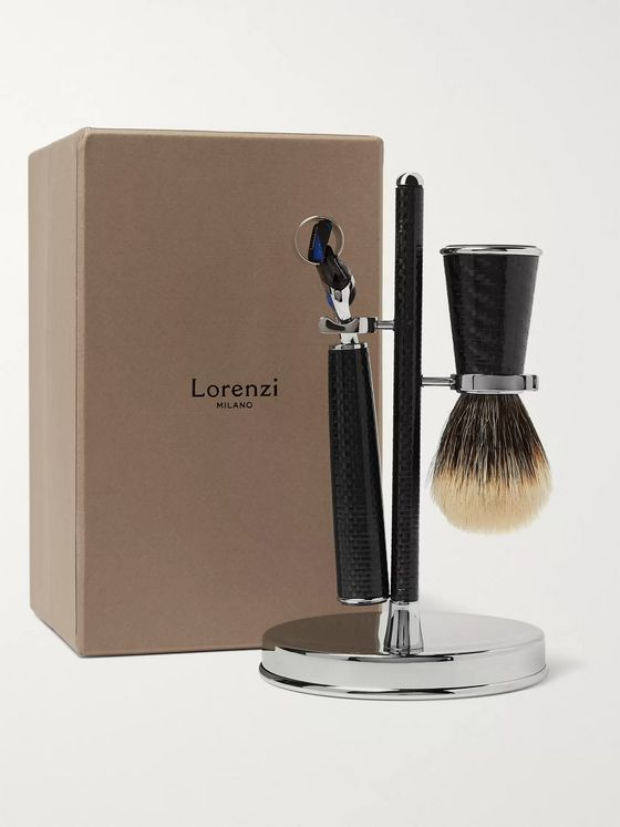 LORENZI MILANO Three-Piece Carbon-Fibre Shaving Set