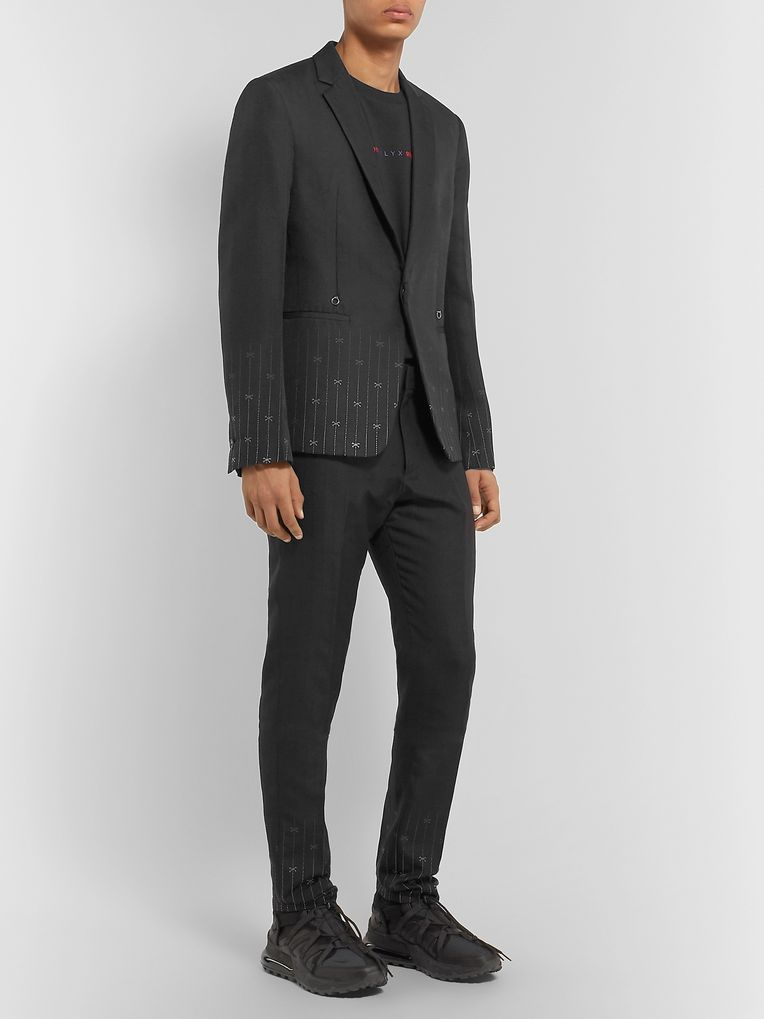 1017 ALYX 9SM Black Slim-Fit Silk and Wool-Blend Jacquard Suit Trousers
