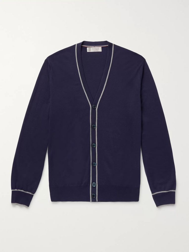 Brunello Cucinelli Contrast-Tipped Wool and Cashmere-Blend Cardigan
