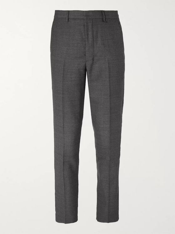 AMI Grey Slim-Fit Wool Suit Trousers