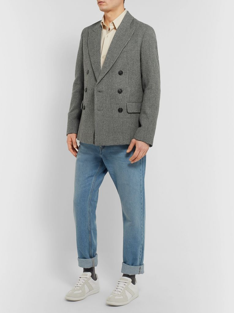 Isabel Marant Anthracite Maxime Double-Breasted Pinstriped Wool-Blend Blazer