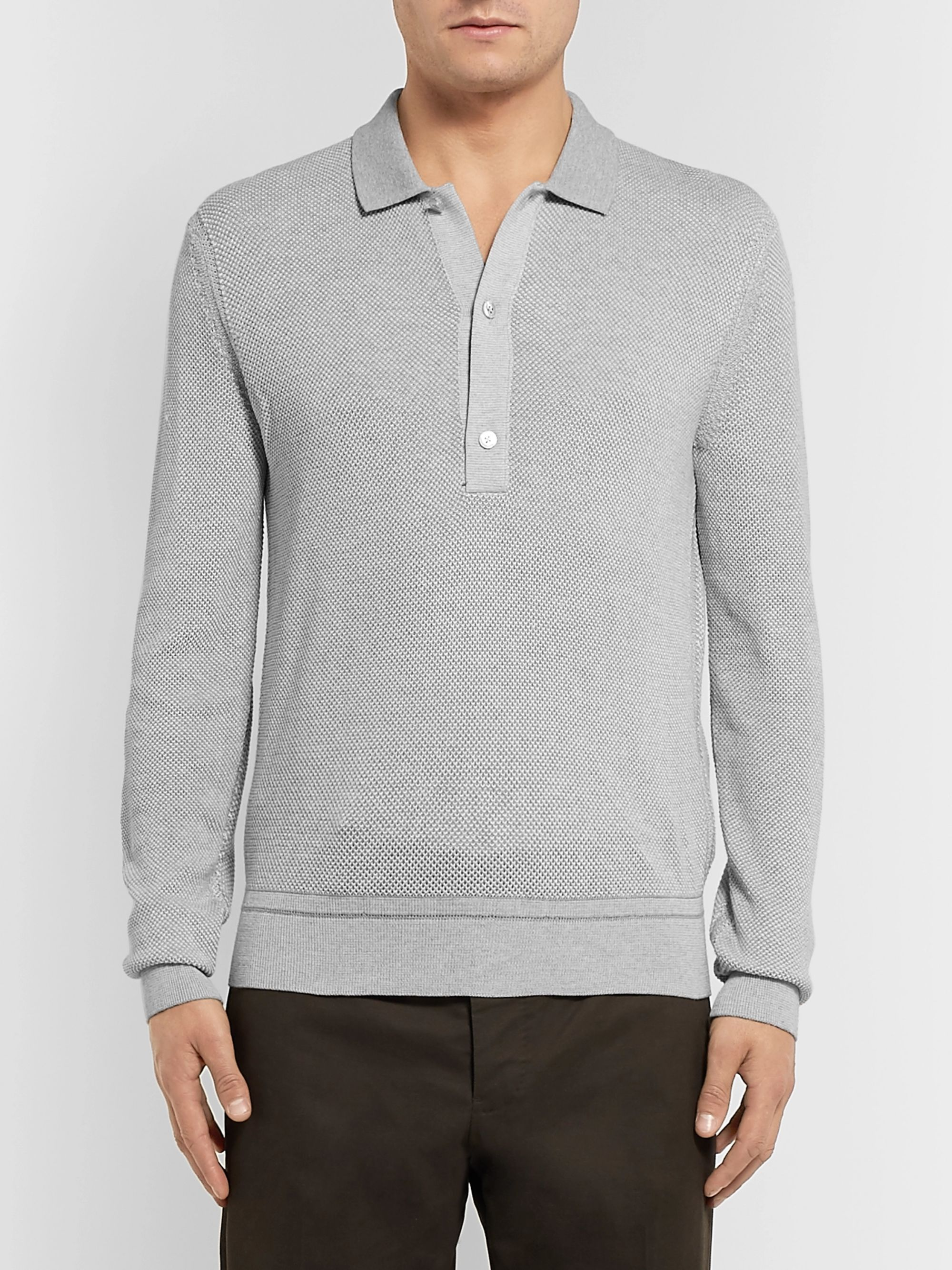 TOM FORD Silk and Cotton-Blend Piqué Polo Shirt
