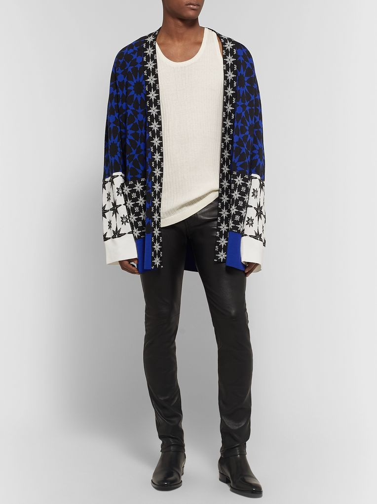 Haider Ackermann Intarsia Wool-Panelled Cashmere and Silk-Blend Cardigan