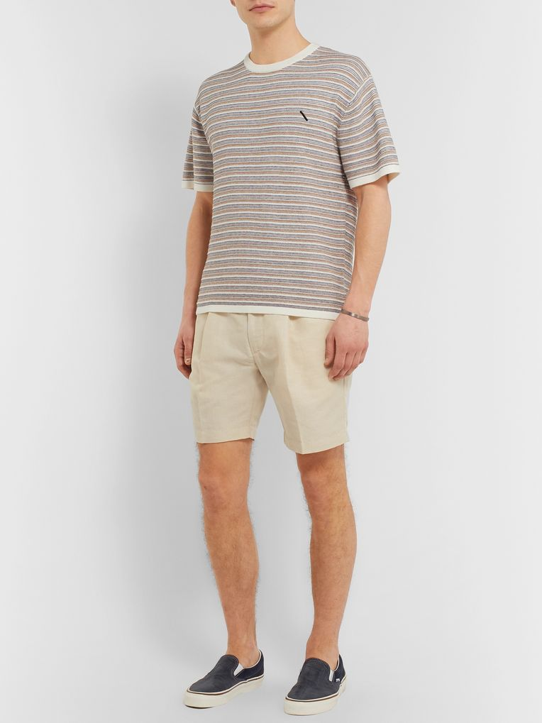 Saturdays NYC Striped Knitted Cotton and Cashmere-Blend T-Shirt