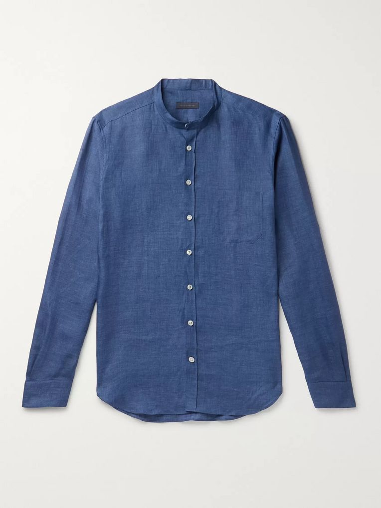 Thom Sweeney Slim-Fit Grandad-Collar Linen Shirt