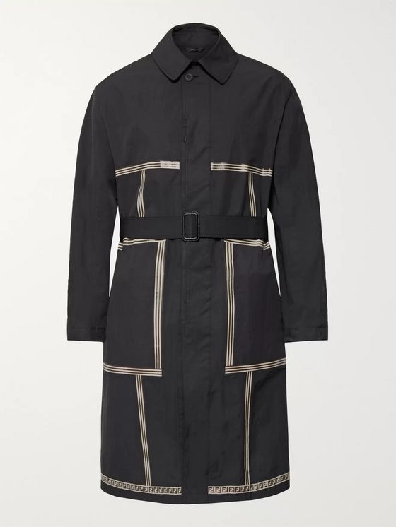 Fendi Printed Nylon-Blend Trench Coat
