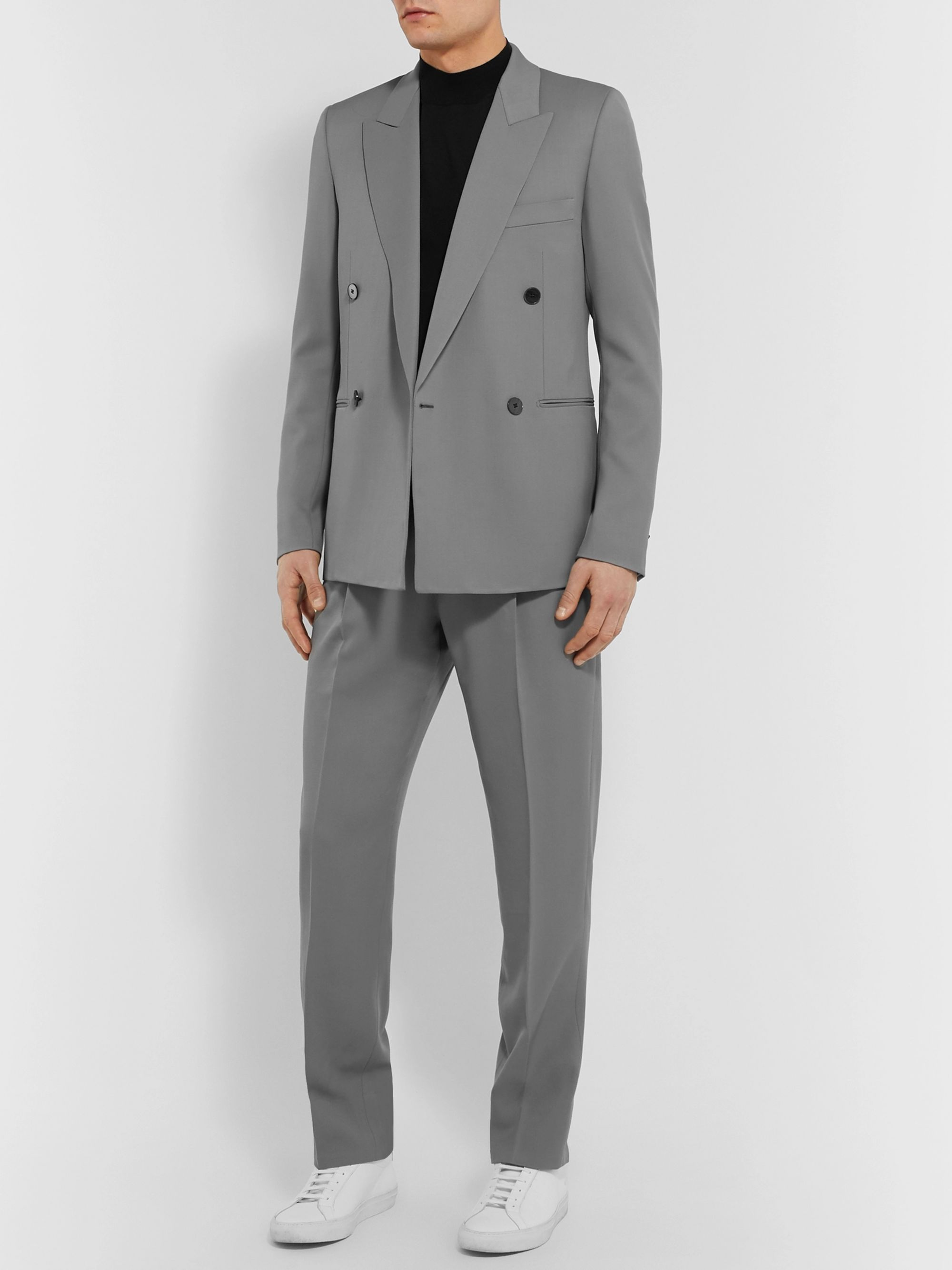 The Row Grey Julian Slim-Fit Double-Breasted Virgin Wool Blazer